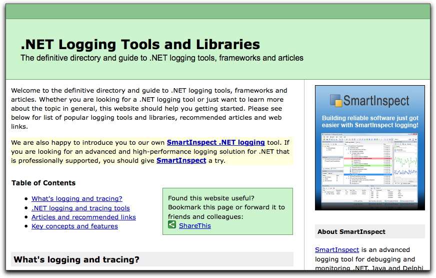 .NET logging tools