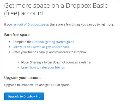 dropbox free storage