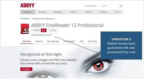 case study ABBYY CTA variation