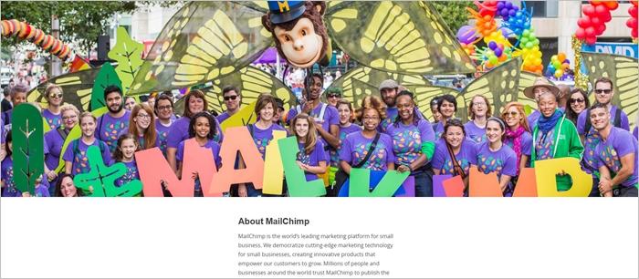 mailchimp about us page