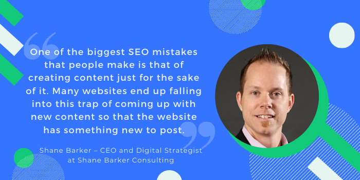 SEO mistake by Shane Barker