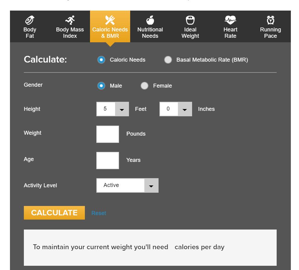 interactive content - calorie calculator