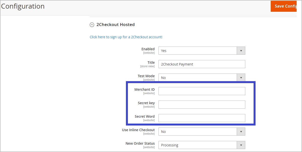 2checkout magento integration step 4 - magento admin configuration