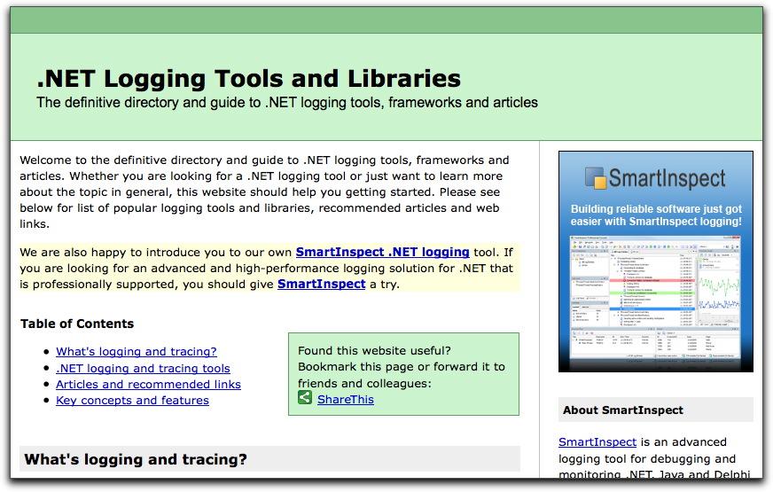 .NET logging tools