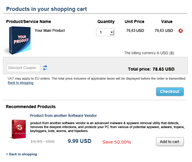 Shopping cart example network cross-selling