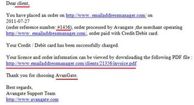 Malware email message with Avangate name on it