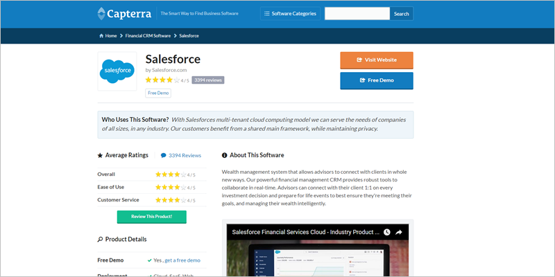 Capterra software SaaS review site