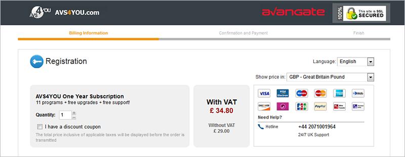 avs4you shopping cart localizaed UK
