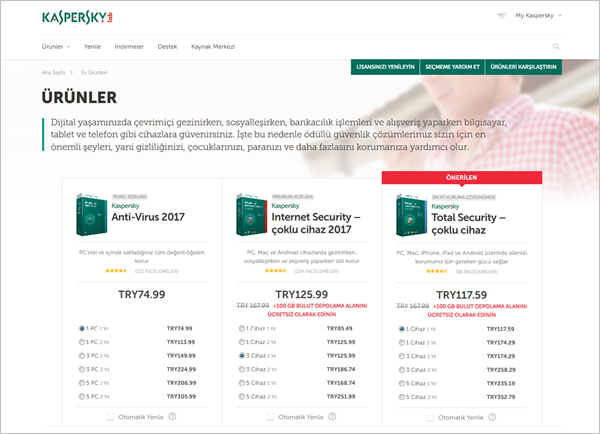 pricing page kaspersky turkish