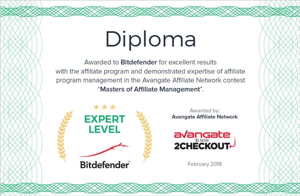 Diploma Masters of Affiliate Management - Bitdefender