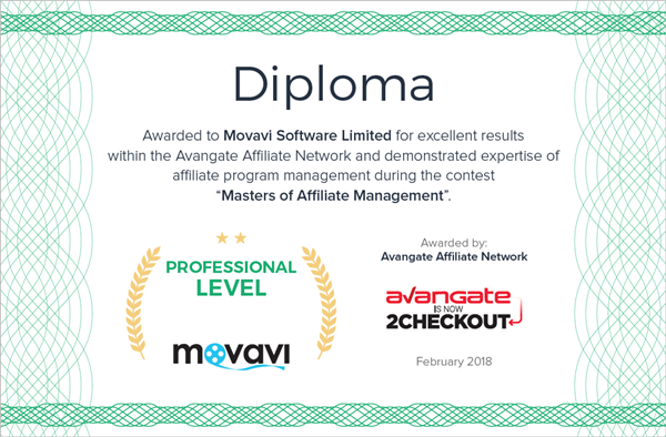 Diploma Masters of Affiliate Management - Movavi