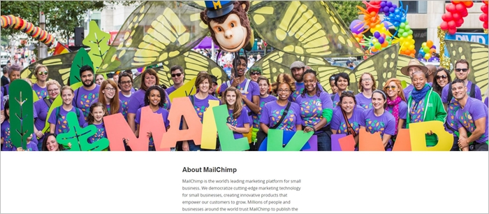 mailchimp about us page